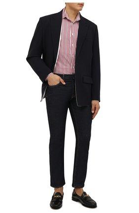 Мужская хлопковая сорочка VAN LAACK бордового цвета, арт. RIVARA-SFW/162406 | Фото 2 (Материал внешний: Хлопок; Рукава: Длинные; Длина (для топов): Стандартные; Случай: Формальный; Принт: Полоска; Рубашки М: Slim Fit; Манжеты: На пуговицах; Стили: Классический; Воротник: Акула)