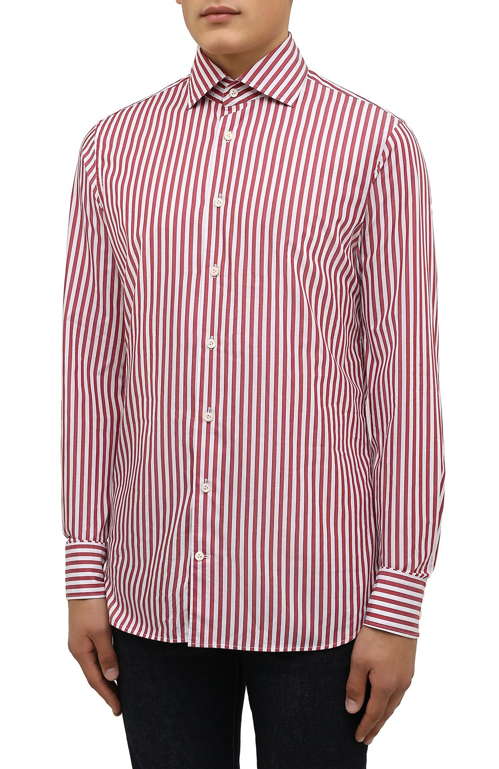 Мужская хлопковая сорочка VAN LAACK бордового цвета, арт. RIVARA-SFW/162406   Фото 3 (Манжеты: На пуговицах; Рукава: Длинные; Воротник: Акула; Принт: Полоска; Длина (для топов): Стандартные; Рубашки М: Slim Fit; Материал внешний: Хлопок; Стили: Классический; Случай: Формальный)