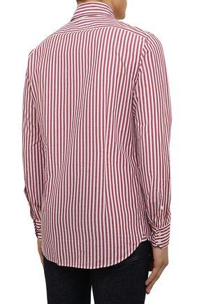 Мужская хлопковая сорочка VAN LAACK бордового цвета, арт. RIVARA-SFW/162406   Фото 4 (Манжеты: На пуговицах; Рукава: Длинные; Воротник: Акула; Принт: Полоска; Длина (для топов): Стандартные; Рубашки М: Slim Fit; Материал внешний: Хлопок; Стили: Классический; Случай: Формальный)