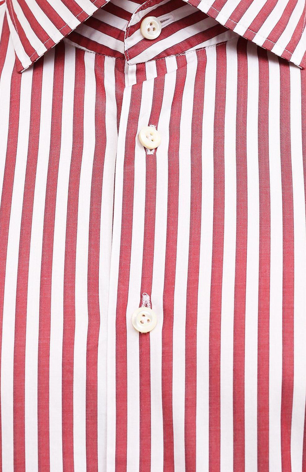 Мужская хлопковая сорочка VAN LAACK бордового цвета, арт. RIVARA-SFW/162406   Фото 5 (Манжеты: На пуговицах; Рукава: Длинные; Воротник: Акула; Принт: Полоска; Длина (для топов): Стандартные; Рубашки М: Slim Fit; Материал внешний: Хлопок; Стили: Классический; Случай: Формальный)
