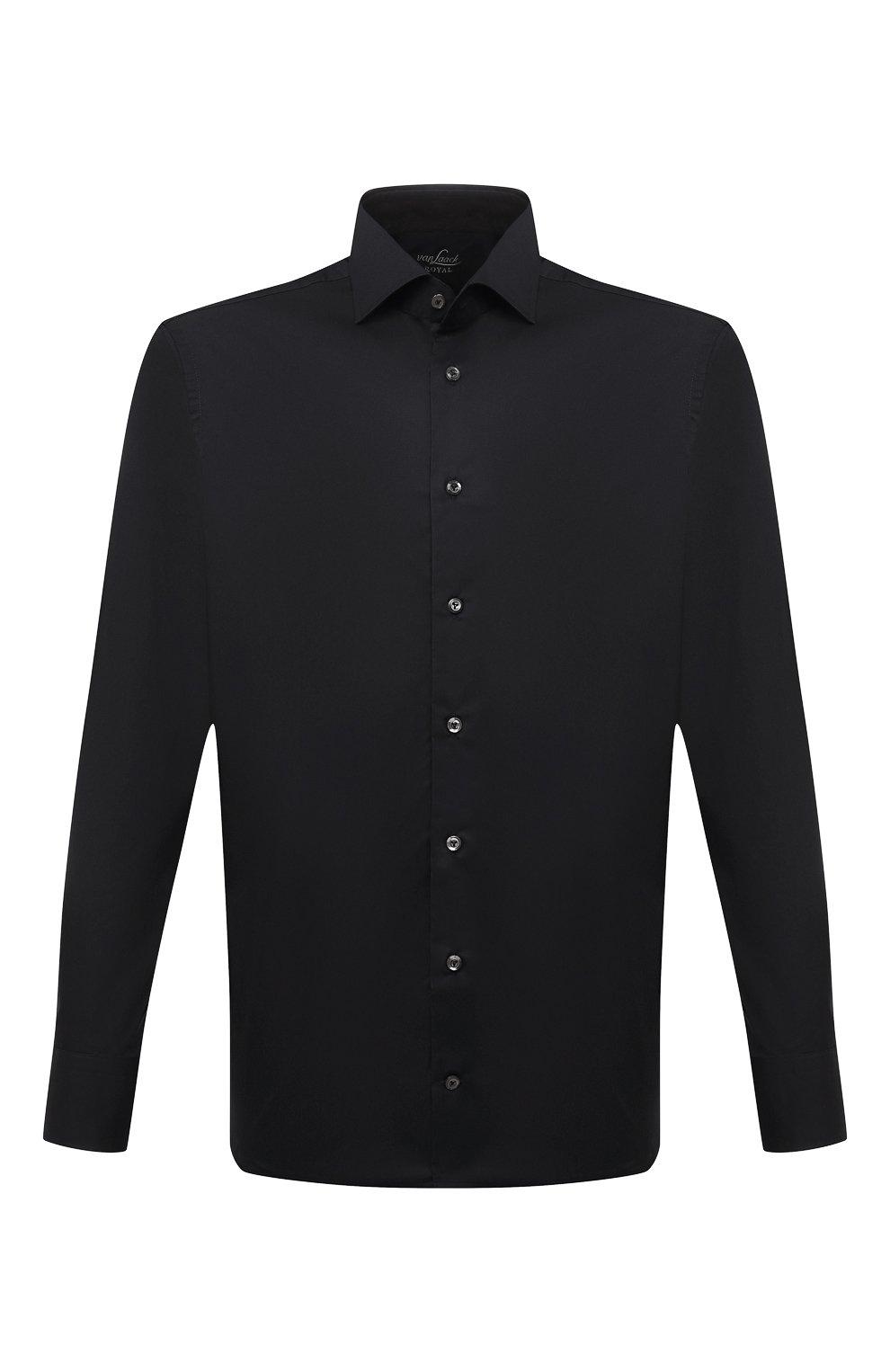 Мужская хлопковая сорочка VAN LAACK черного цвета, арт. RIVARA-SF/150185 | Фото 1 (Манжеты: На пуговицах; Рукава: Длинные; Воротник: Акула; Длина (для топов): Стандартные; Рубашки М: Slim Fit; Материал внешний: Хлопок; Стили: Классический; Случай: Формальный; Принт: Однотонные)