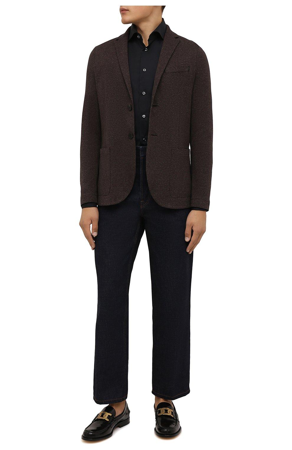 Мужская хлопковая сорочка VAN LAACK черного цвета, арт. RIVARA-SF/150185 | Фото 2 (Манжеты: На пуговицах; Рукава: Длинные; Воротник: Акула; Длина (для топов): Стандартные; Рубашки М: Slim Fit; Материал внешний: Хлопок; Стили: Классический; Случай: Формальный; Принт: Однотонные)