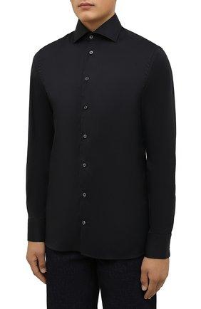 Мужская хлопковая сорочка VAN LAACK черного цвета, арт. RIVARA-SF/150185 | Фото 3 (Манжеты: На пуговицах; Рукава: Длинные; Воротник: Акула; Длина (для топов): Стандартные; Рубашки М: Slim Fit; Материал внешний: Хлопок; Стили: Классический; Случай: Формальный; Принт: Однотонные)