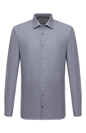 Мужская хлопковая сорочка VAN LAACK темно-синего цвета, арт. RET-TF02/156539 | Фото 1 (Материал внешний: Хлопок; Случай: Формальный; Рукава: Длинные; Принт: Клетка; Рубашки М: Regular Fit; Манжеты: На пуговицах; Стили: Классический; Воротник: Кент; Длина (для топов): Стандартные)