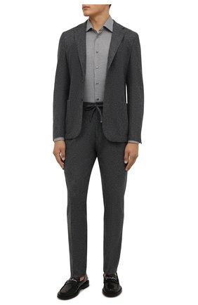 Мужская хлопковая сорочка VAN LAACK серого цвета, арт. RET-TF02/156539 | Фото 2 (Материал внешний: Хлопок; Случай: Формальный; Рукава: Длинные; Принт: Клетка; Рубашки М: Regular Fit; Манжеты: На пуговицах; Стили: Классический; Воротник: Кент; Длина (для топов): Стандартные)
