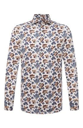 Мужская хлопковая сорочка VAN LAACK бежевого цвета, арт. RES0-SFW/171858 | Фото 1 (Длина (для топов): Стандартные; Материал внешний: Хлопок; Рукава: Длинные; Случай: Формальный; Принт: С принтом; Рубашки М: Slim Fit; Манжеты: На пуговицах; Стили: Классический; Воротник: Акула)