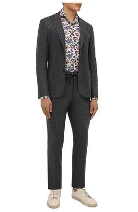 Мужская хлопковая сорочка VAN LAACK бежевого цвета, арт. RES0-SFW/171858 | Фото 2 (Длина (для топов): Стандартные; Материал внешний: Хлопок; Рукава: Длинные; Случай: Формальный; Принт: С принтом; Рубашки М: Slim Fit; Манжеты: На пуговицах; Стили: Классический; Воротник: Акула)