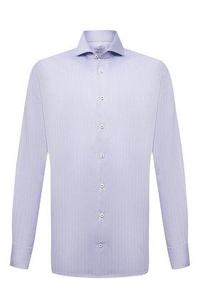 Мужская хлопковая сорочка VAN LAACK голубого цвета, арт. RES0-SF/162583 | Фото 1 (Материал внешний: Хлопок; Случай: Формальный; Рукава: Длинные; Принт: Однотонные; Рубашки М: Slim Fit; Манжеты: На пуговицах; Стили: Классический; Воротник: Акула; Длина (для топов): Стандартные)