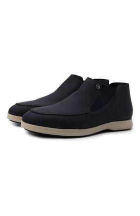 Мужские кожаные ботинки ZILLI темно-синего цвета, арт. MDW-T171/002 | Фото 1 (Материал внутренний: Текстиль; Подошва: Плоская)