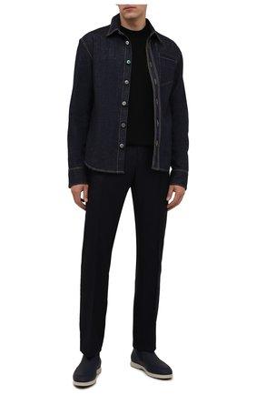 Мужские кожаные ботинки ZILLI темно-синего цвета, арт. MDW-T171/002 | Фото 2 (Материал внутренний: Текстиль; Подошва: Плоская)