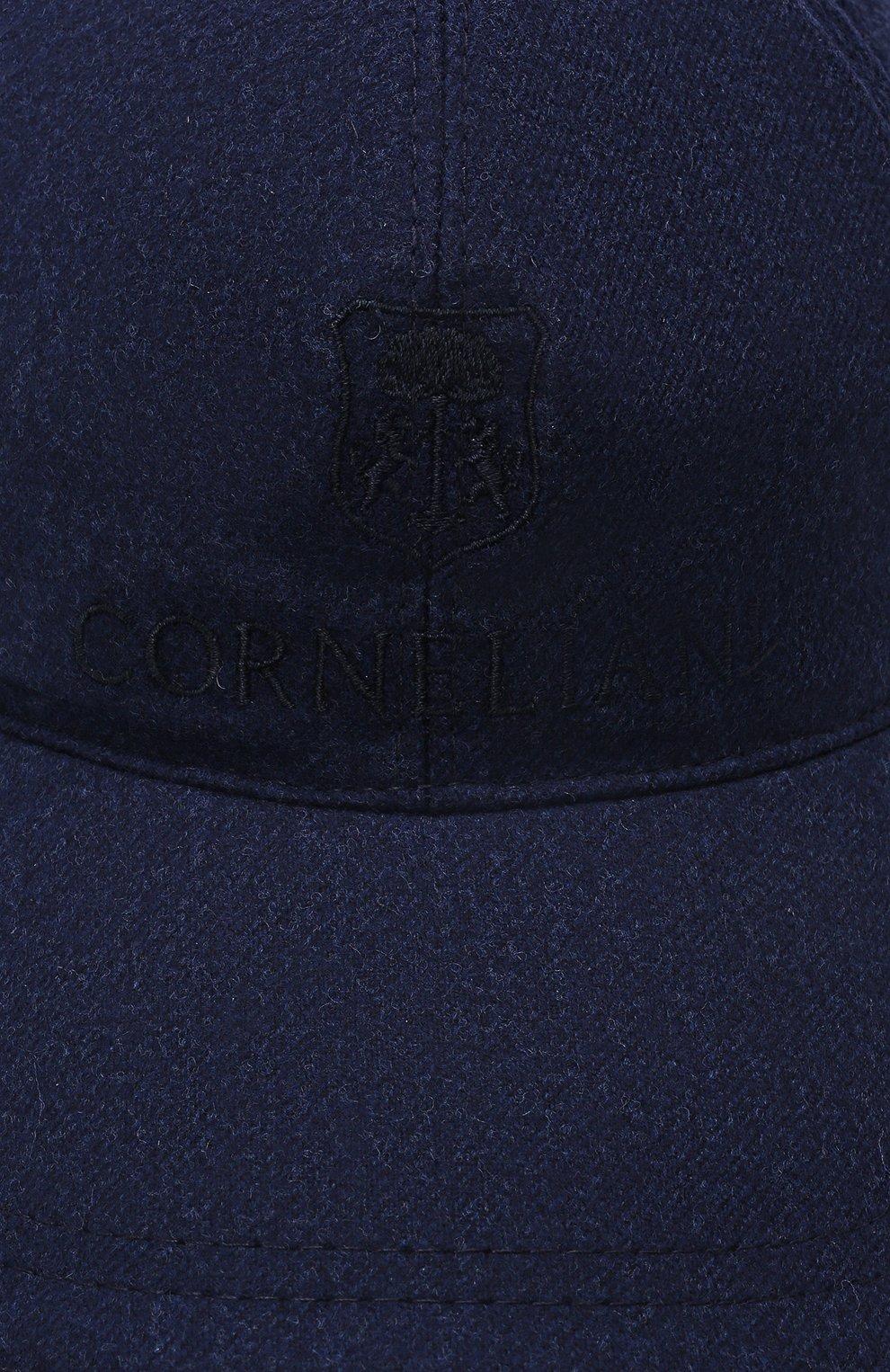 Мужской шерстяная бейсболка CORNELIANI синего цвета, арт. 880332-1829207/00 | Фото 4 (Материал: Шерсть)