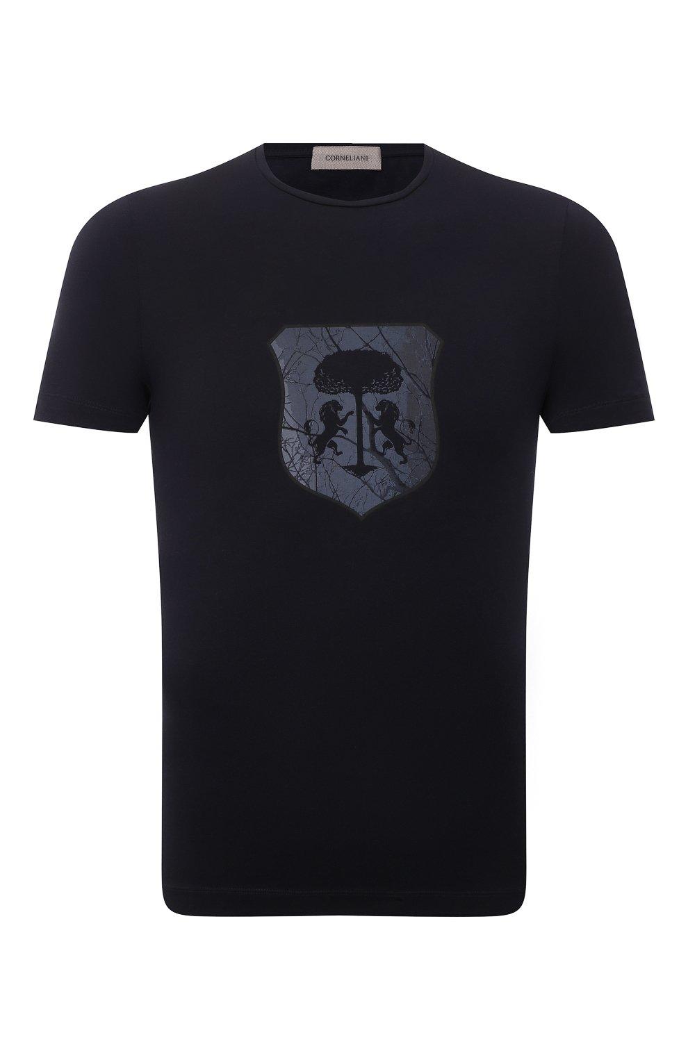 Мужская хлопковая футболка CORNELIANI темно-синего цвета, арт. 88G587-1825015/00   Фото 1 (Рукава: Короткие; Длина (для топов): Стандартные; Принт: С принтом; Материал внешний: Хлопок; Стили: Кэжуэл)