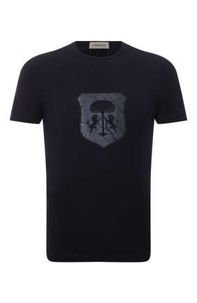 Мужская хлопковая футболка CORNELIANI темно-синего цвета, арт. 88G587-1825015/00 | Фото 1 (Материал внешний: Хлопок; Принт: С принтом; Рукава: Короткие; Стили: Кэжуэл; Длина (для топов): Стандартные)