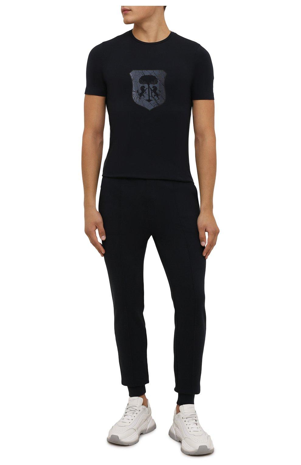 Мужская хлопковая футболка CORNELIANI темно-синего цвета, арт. 88G587-1825015/00   Фото 2 (Рукава: Короткие; Длина (для топов): Стандартные; Принт: С принтом; Материал внешний: Хлопок; Стили: Кэжуэл)