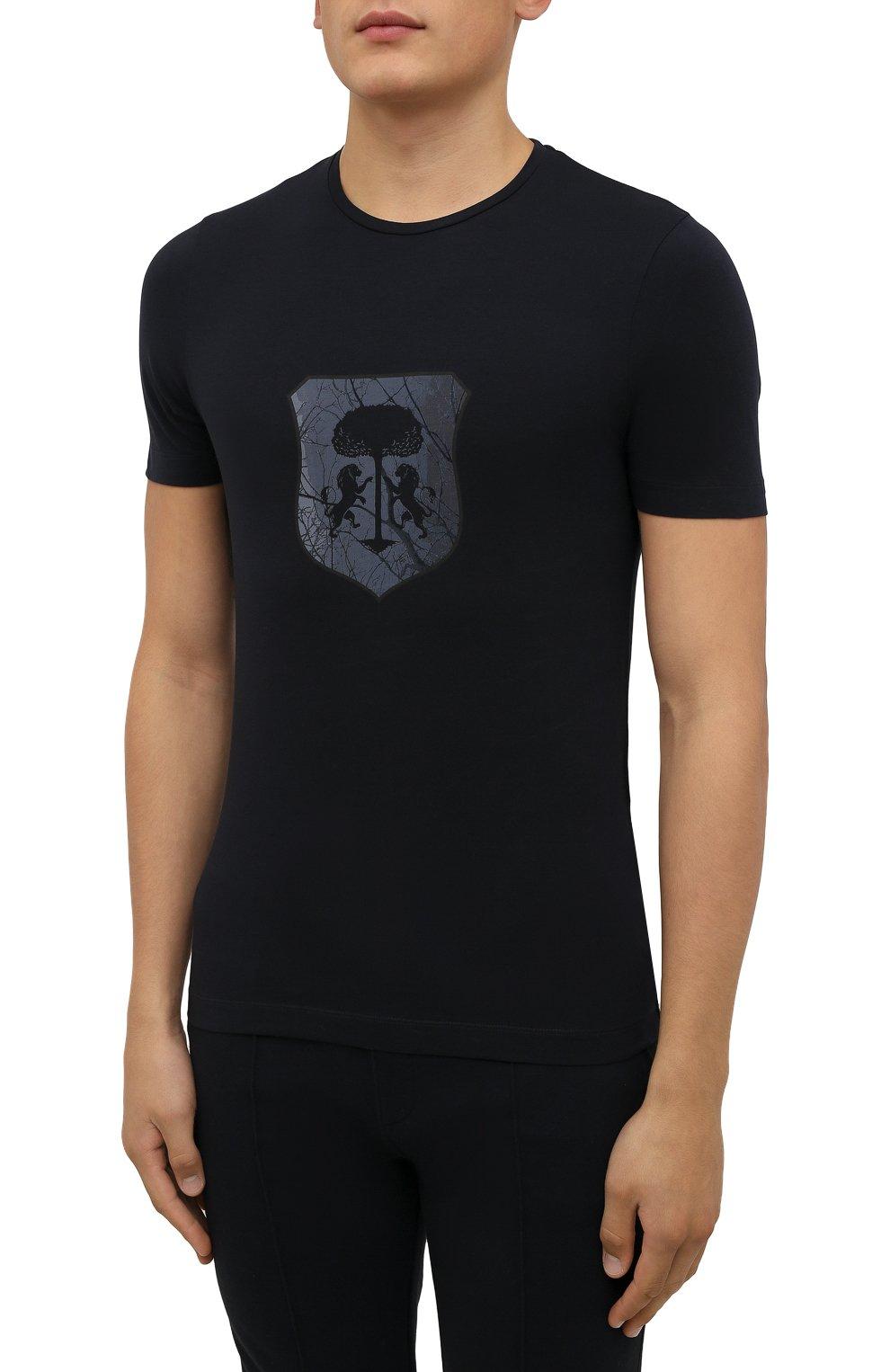 Мужская хлопковая футболка CORNELIANI темно-синего цвета, арт. 88G587-1825015/00   Фото 3 (Рукава: Короткие; Длина (для топов): Стандартные; Принт: С принтом; Материал внешний: Хлопок; Стили: Кэжуэл)