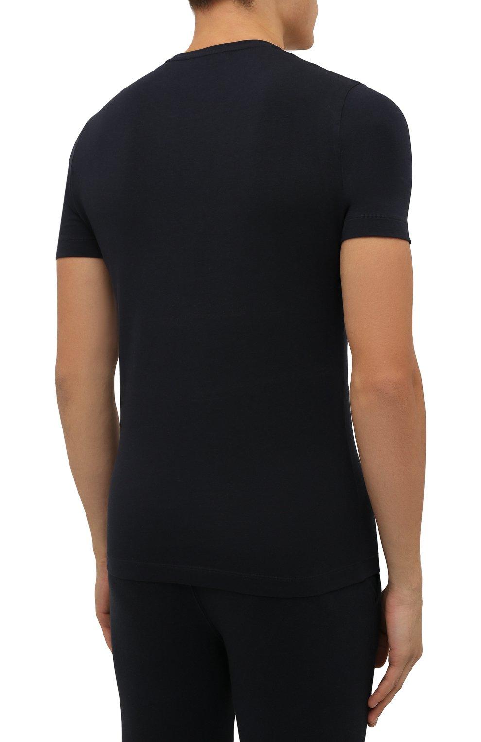 Мужская хлопковая футболка CORNELIANI темно-синего цвета, арт. 88G587-1825015/00   Фото 4 (Рукава: Короткие; Длина (для топов): Стандартные; Принт: С принтом; Материал внешний: Хлопок; Стили: Кэжуэл)
