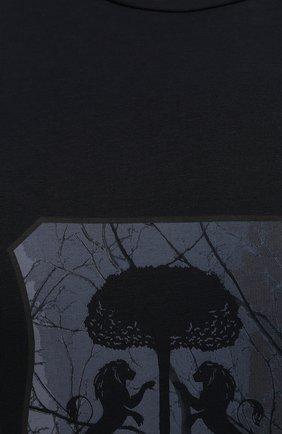 Мужская хлопковая футболка CORNELIANI темно-синего цвета, арт. 88G587-1825015/00   Фото 5 (Рукава: Короткие; Длина (для топов): Стандартные; Принт: С принтом; Материал внешний: Хлопок; Стили: Кэжуэл)