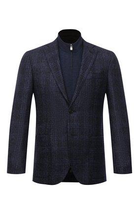 Мужской шерстяной пиджак CORNELIANI темно-синего цвета, арт. 88X528-1816317/90 | Фото 1 (Рукава: Длинные; Материал внешний: Шерсть; Длина (для топов): Стандартные; 1-2-бортные: Однобортные; Случай: Повседневный; Стили: Классический; Пиджаки М: Прямой)