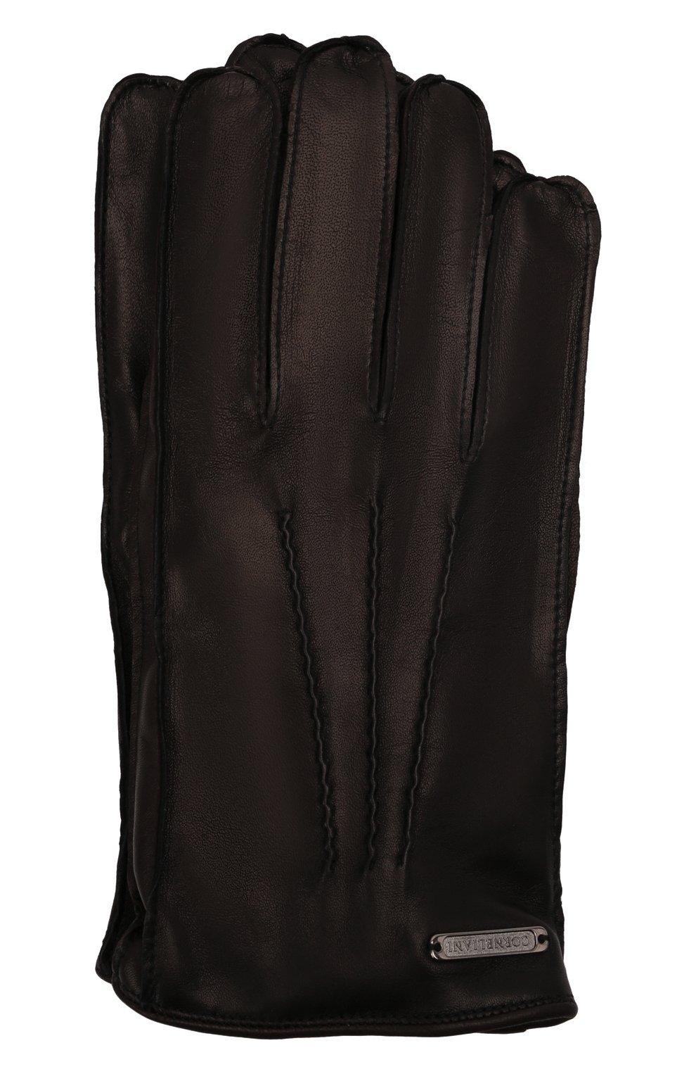 Мужские кожаные перчатки CORNELIANI черного цвета, арт. 88Q318-1820590/00 | Фото 1 (Мужское Кросс-КТ: Кожа и замша)