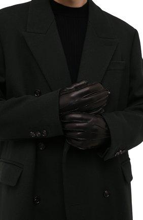 Мужские кожаные перчатки CORNELIANI черного цвета, арт. 88Q318-1820590/00 | Фото 2 (Мужское Кросс-КТ: Кожа и замша)