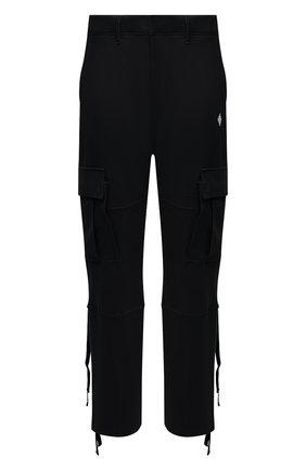 Мужские хлопковые брюки-карго MARCELO BURLON черного цвета, арт. CMCH030F21JER001 | Фото 1 (Материал внешний: Хлопок; Длина (брюки, джинсы): Стандартные; Случай: Повседневный; Силуэт М (брюки): Карго; Стили: Гранж)