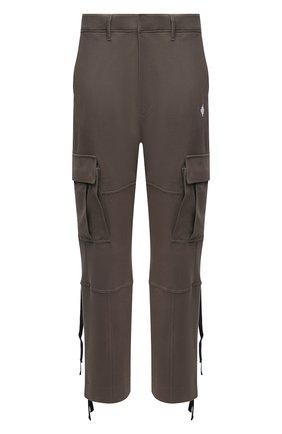 Мужские хлопковые брюки-карго MARCELO BURLON хаки цвета, арт. CMCH030F21JER001 | Фото 1 (Материал внешний: Хлопок; Длина (брюки, джинсы): Стандартные; Случай: Повседневный; Силуэт М (брюки): Карго; Стили: Гранж)