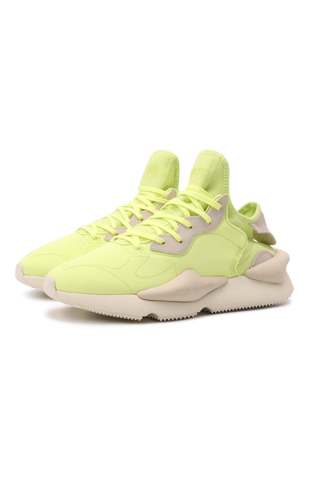 Мужские текстильные кроссовки kaiwa Y-3 светло-зеленого цвета, арт. GZ9144/M | Фото 1 (Материал внешний: Текстиль; Материал внутренний: Натуральная кожа, Текстиль; Подошва: Массивная; Стили: Спорт)