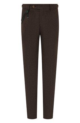 Мужские брюки из шерсти и хлопка BERWICH коричневого цвета, арт. SC/1 FIBB/GB1748   Фото 1 (Материал внешний: Шерсть; Материал подклада: Купро; Случай: Повседневный; Стили: Кэжуэл; Длина (брюки, джинсы): Стандартные)