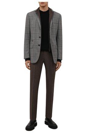Мужские брюки из шерсти и хлопка BERWICH коричневого цвета, арт. SC/1 FIBB/GB1748   Фото 2 (Материал внешний: Шерсть; Материал подклада: Купро; Случай: Повседневный; Стили: Кэжуэл; Длина (брюки, джинсы): Стандартные)