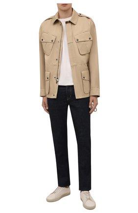 Мужская куртка из хлопка и льна RALPH LAUREN бежевого цвета, арт. 790842848   Фото 2 (Материал внешний: Хлопок, Лен; Материал подклада: Хлопок; Кросс-КТ: Куртка, Ветровка; Длина (верхняя одежда): Короткие; Стили: Кэжуэл; Рукава: Длинные)