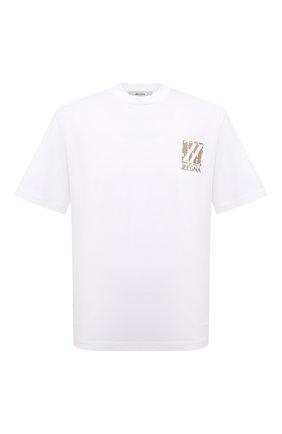 Мужская хлопковая футболка Z ZEGNA белого цвета, арт. VY364/ZZ651T   Фото 1 (Материал внешний: Хлопок; Принт: С принтом; Рукава: Короткие; Стили: Кэжуэл; Длина (для топов): Стандартные)