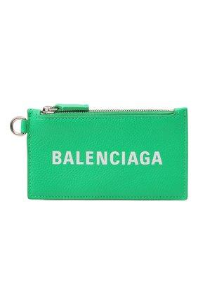 Мужской кожаный футляр для кредитных карт BALENCIAGA зеленого цвета, арт. 594548/1IZI3 | Фото 1