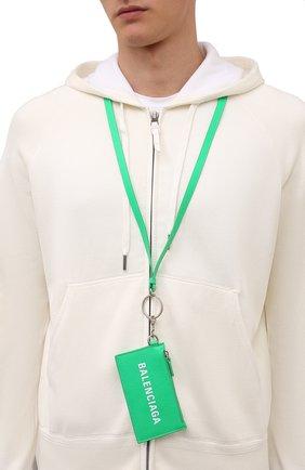 Мужской кожаный футляр для кредитных карт BALENCIAGA зеленого цвета, арт. 594548/1IZI3 | Фото 2