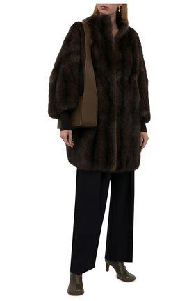Женская шуба из меха соболя VALENTINO темно-коричневого цвета, арт. WF3FAN323AF   Фото 2 (Рукава: 3/4; Материал подклада: Шелк; Длина (верхняя одежда): До середины бедра; Стили: Гламурный; Женское Кросс-КТ: Мех)