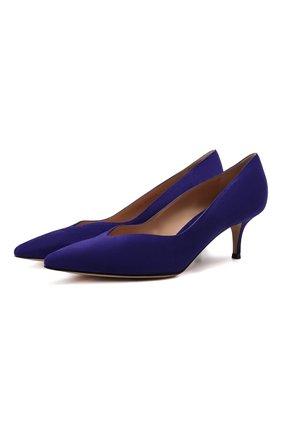 Женские замшевые туфли GIANVITO ROSSI синего цвета, арт. G21265.55RIC.CAMINDI   Фото 1 (Подошва: Плоская; Материал внутренний: Натуральная кожа; Каблук высота: Низкий; Каблук тип: Kitten heel)