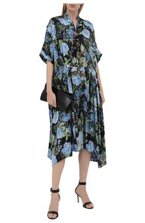 Женское платье из вискозы BALENCIAGA разноцветного цвета, арт. 675618/TLLA1 | Фото 2 (Длина Ж (юбки, платья, шорты): Миди; Материал внешний: Вискоза; Рукава: Короткие; Стили: Романтичный; Случай: Повседневный; Женское Кросс-КТ: Платье-одежда)