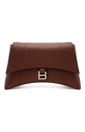 Женская сумка hourglass m BALENCIAGA коричневого цвета, арт. 671354/29S1Y | Фото 1 (Материал: Натуральная кожа; Размер: medium; Сумки-технические: Сумки через плечо)