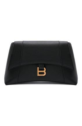 Женская сумка hourglass s BALENCIAGA черного цвета, арт. 671353/29S1M | Фото 1 (Размер: medium; Материал: Натуральная кожа; Сумки-технические: Сумки через плечо)