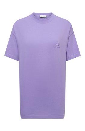Женская хлопковая футболка BALENCIAGA сиреневого цвета, арт. 612965/TLV99 | Фото 1 (Рукава: Короткие; Материал внешний: Хлопок; Длина (для топов): Стандартные; Стили: Спорт-шик; Принт: Без принта; Женское Кросс-КТ: Футболка-одежда)