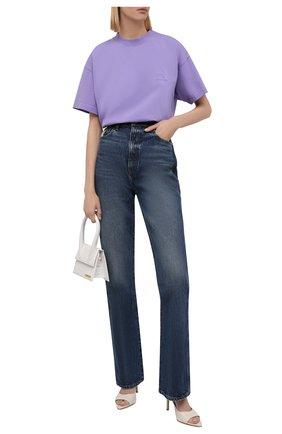 Женская хлопковая футболка BALENCIAGA сиреневого цвета, арт. 612965/TLV99 | Фото 2 (Рукава: Короткие; Материал внешний: Хлопок; Длина (для топов): Стандартные; Стили: Спорт-шик; Принт: Без принта; Женское Кросс-КТ: Футболка-одежда)