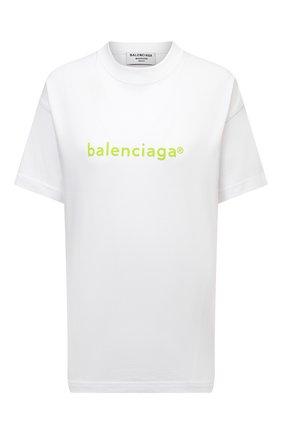 Женская хлопковая футболка BALENCIAGA белого цвета, арт. 612965/TIV54 | Фото 1 (Рукава: Короткие; Материал внешний: Хлопок; Длина (для топов): Стандартные; Стили: Спорт-шик; Принт: С принтом; Женское Кросс-КТ: Футболка-одежда)