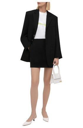 Женская хлопковая футболка BALENCIAGA белого цвета, арт. 612965/TIV54 | Фото 2 (Рукава: Короткие; Материал внешний: Хлопок; Длина (для топов): Стандартные; Стили: Спорт-шик; Принт: С принтом; Женское Кросс-КТ: Футболка-одежда)