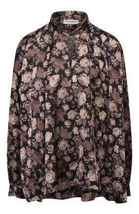Женская блузка BALENCIAGA коричневого цвета, арт. 595072/TLL82   Фото 1 (Материал внешний: Синтетический материал; Рукава: Длинные; Длина (для топов): Стандартные; Стили: Романтичный; Принт: С принтом; Женское Кросс-КТ: Блуза-одежда)