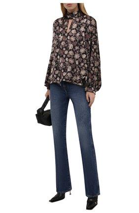 Женская блузка BALENCIAGA коричневого цвета, арт. 595072/TLL82   Фото 2 (Материал внешний: Синтетический материал; Рукава: Длинные; Длина (для топов): Стандартные; Стили: Романтичный; Принт: С принтом; Женское Кросс-КТ: Блуза-одежда)