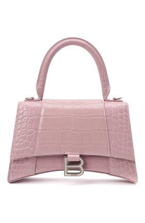Женская сумка hourglass s BALENCIAGA светло-розового цвета, арт. 593546/1LR6Y | Фото 1 (Материал: Натуральная кожа; Размер: small; Сумки-технические: Сумки top-handle; Ремень/цепочка: На ремешке)