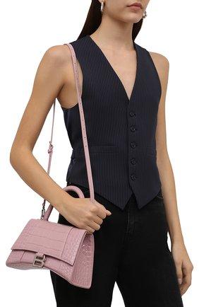 Женская сумка hourglass s BALENCIAGA розового цвета, арт. 593546/1LR6Y | Фото 2 (Материал: Натуральная кожа; Размер: small; Сумки-технические: Сумки top-handle; Ремень/цепочка: На ремешке)