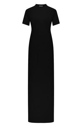 Женское хлопковое платье THE ROW черного цвета, арт. 5840K220 | Фото 1 (Материал внешний: Хлопок; Стили: Минимализм; Случай: Повседневный; Рукава: Короткие; Длина Ж (юбки, платья, шорты): Макси)