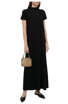 Женское хлопковое платье THE ROW черного цвета, арт. 5840K220 | Фото 2 (Материал внешний: Хлопок; Стили: Минимализм; Случай: Повседневный; Рукава: Короткие; Длина Ж (юбки, платья, шорты): Макси)