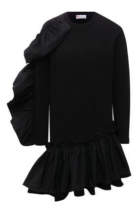 Женское хлопковое платье REDVALENTINO черного цвета, арт. WR0MJ07T/68L   Фото 1 (Рукава: Длинные; Длина Ж (юбки, платья, шорты): Мини; Материал внешний: Хлопок; Стили: Романтичный; Случай: Вечерний; Женское Кросс-КТ: Платье-одежда)