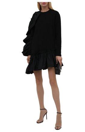 Женское хлопковое платье REDVALENTINO черного цвета, арт. WR0MJ07T/68L   Фото 2 (Рукава: Длинные; Длина Ж (юбки, платья, шорты): Мини; Материал внешний: Хлопок; Стили: Романтичный; Случай: Вечерний; Женское Кросс-КТ: Платье-одежда)